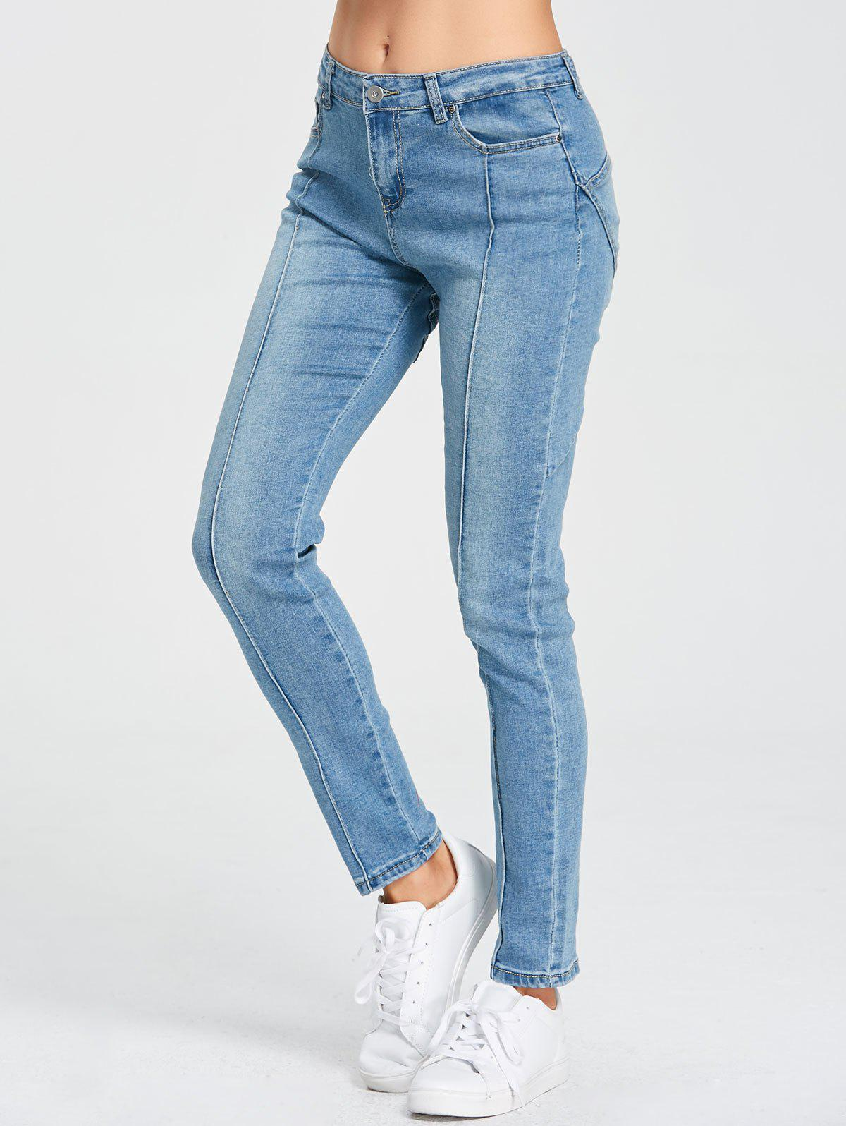 Star Patchwork High Rise Jeans - BLUE S