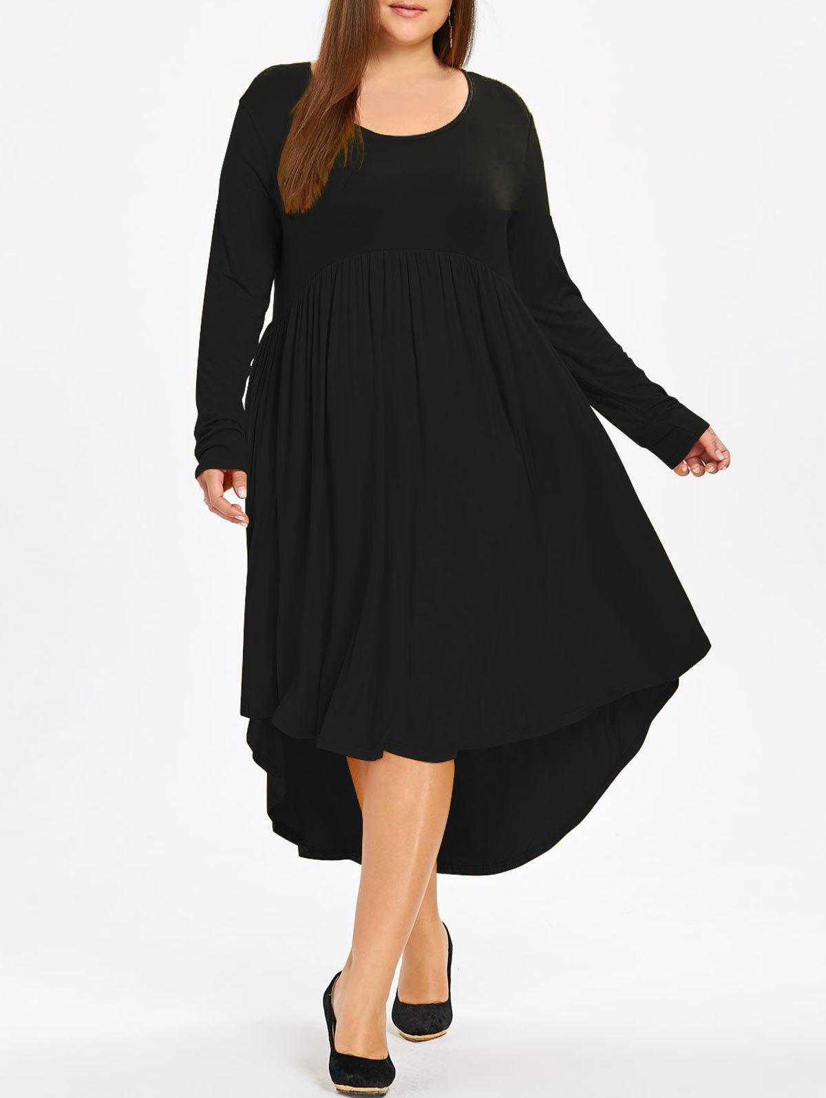 Plus Size High Low Midi Swing Dress plus size high low floral embroidered dress