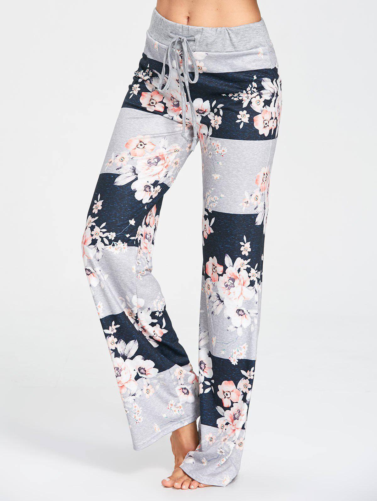 Drawstring Waist Flower Print Pajama Pants - GRAY XL