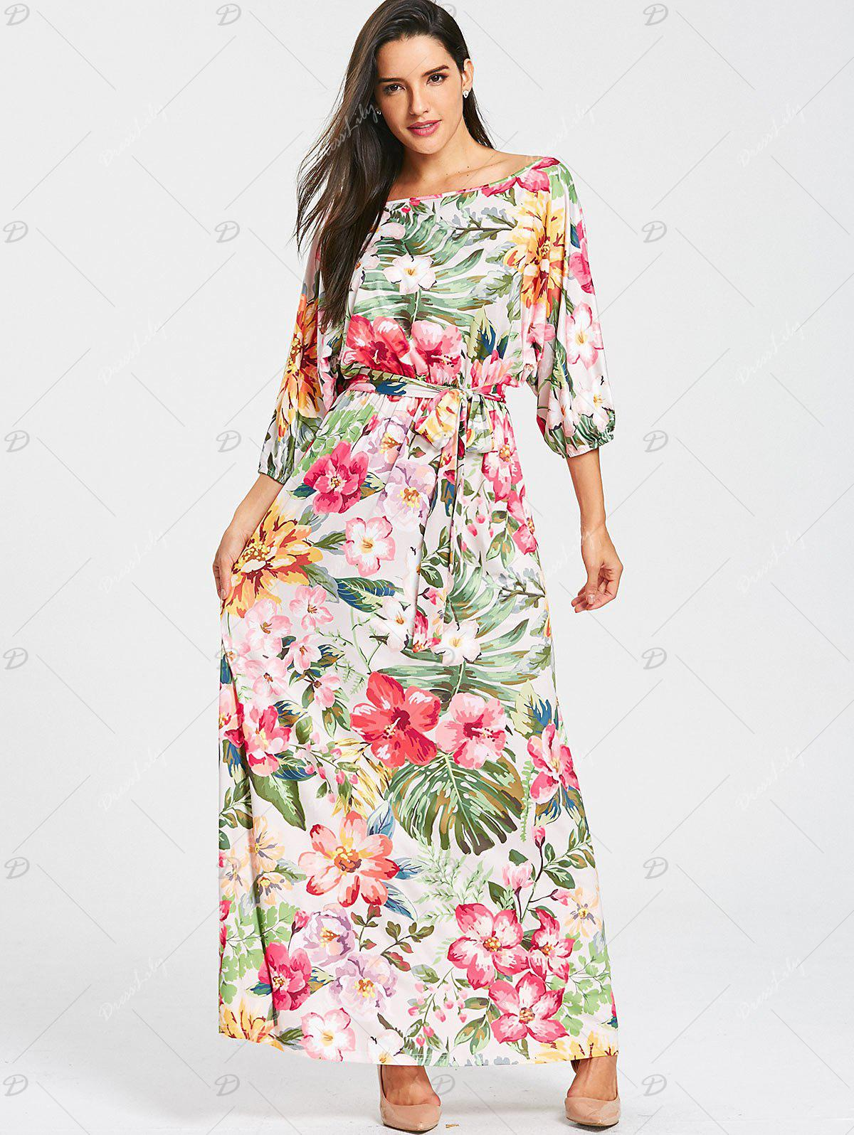 Belted Floral Print Batwing Sleeve Maxi Dress - YELLOW / GREEN 2XL