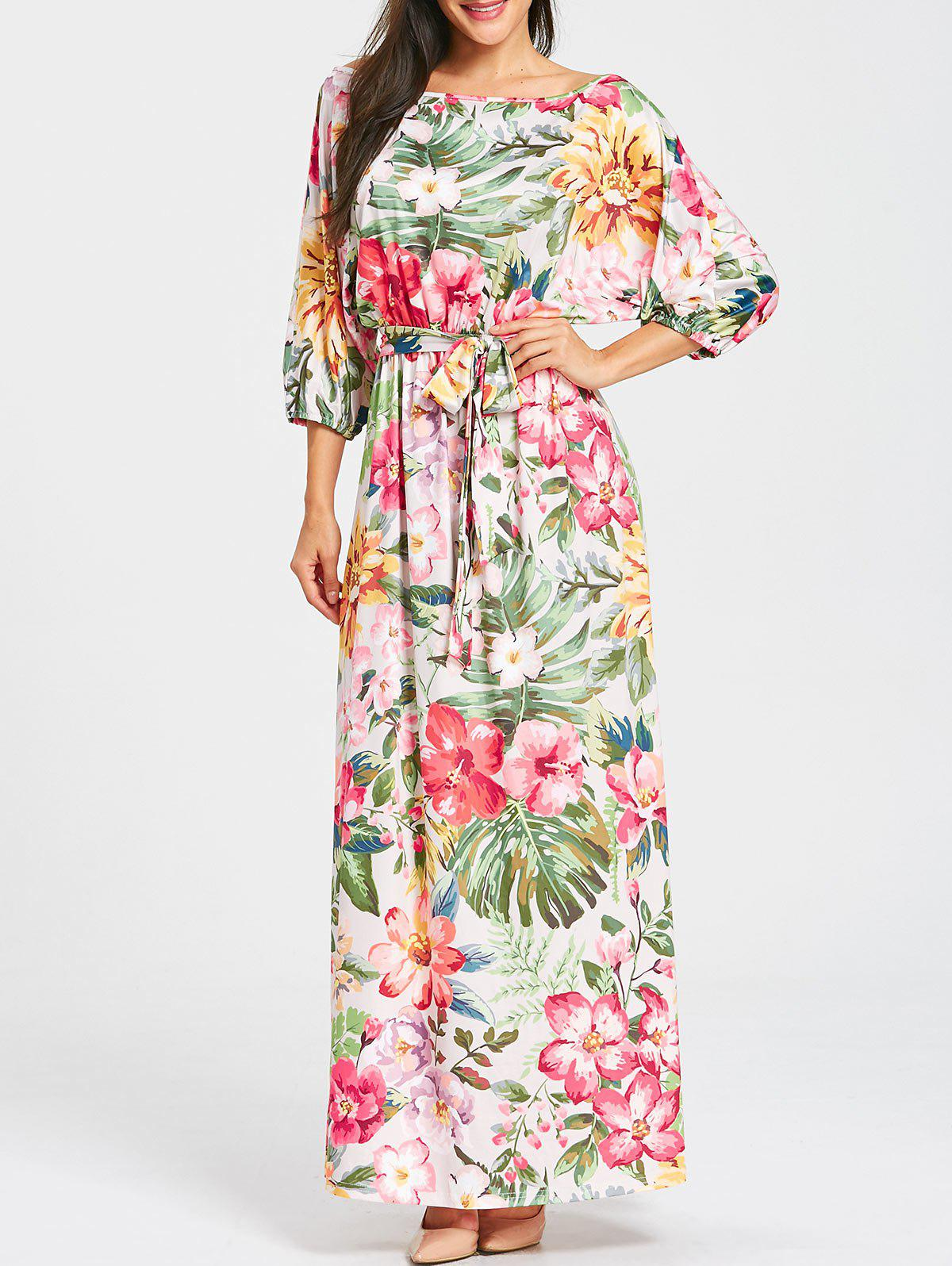 Belted Floral Print Batwing Sleeve Maxi Dress - YELLOW / GREEN XL