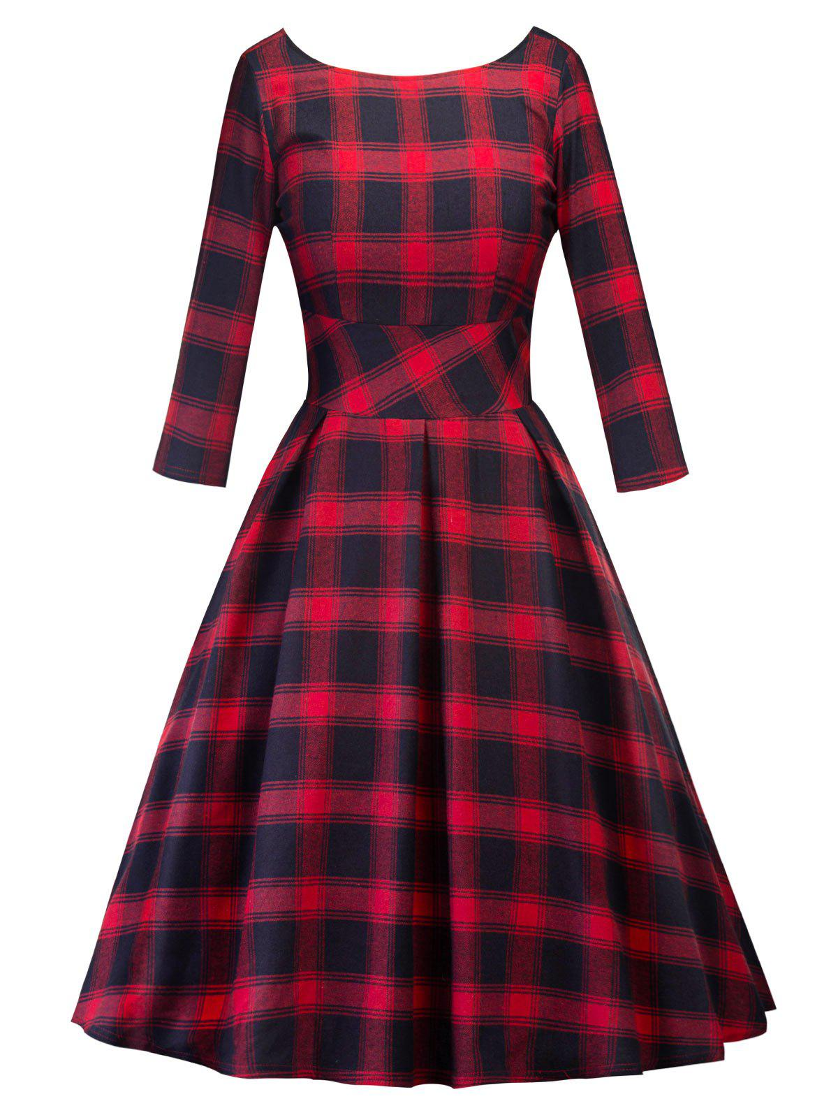 Retro Cut Out Plaid Fit and Flare Dress zip back fit and flared plaid dress