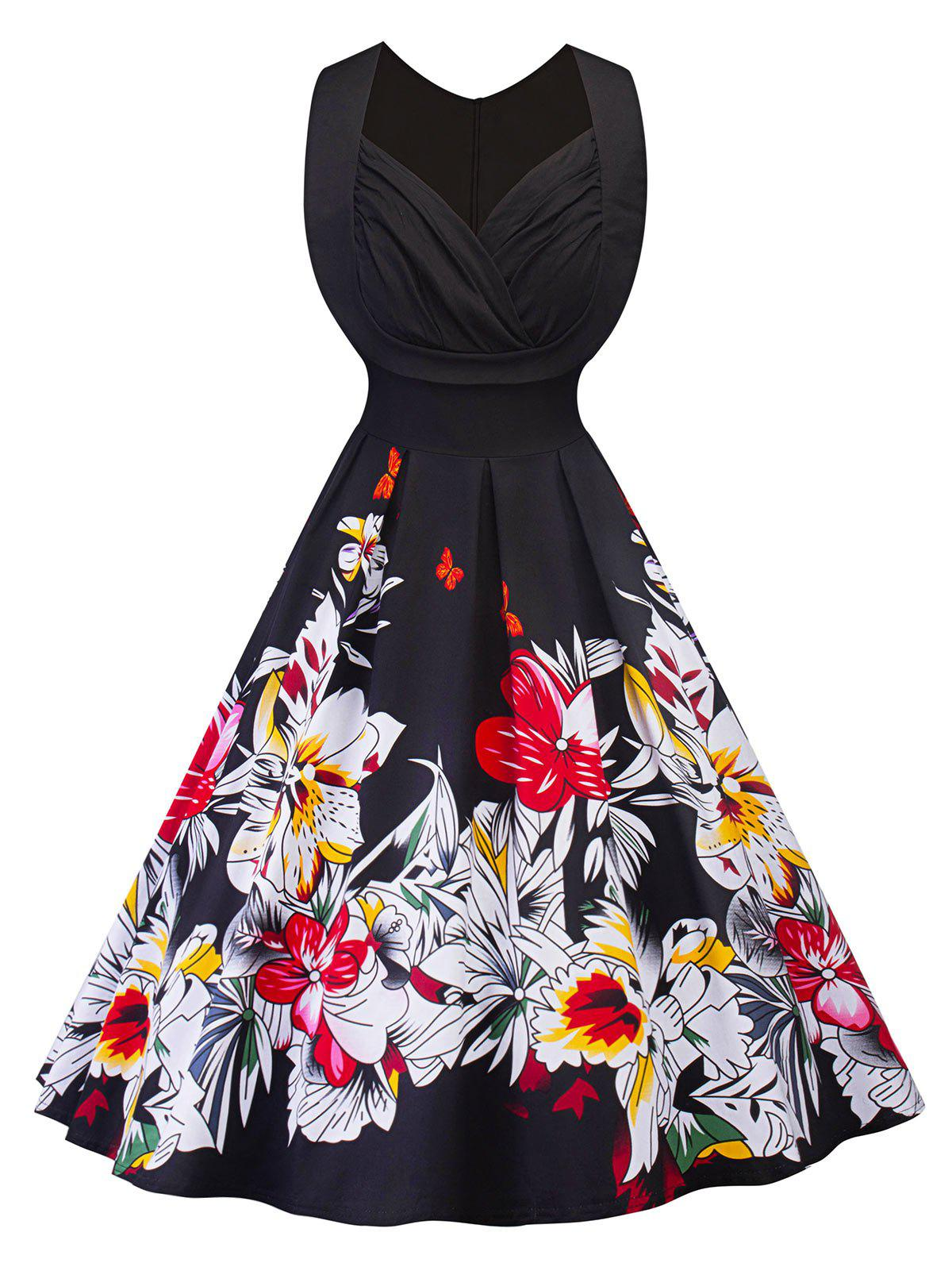 Vintage Ruched Floral Print Fit and Flare Dress sleeveless floral print fit and flare dress