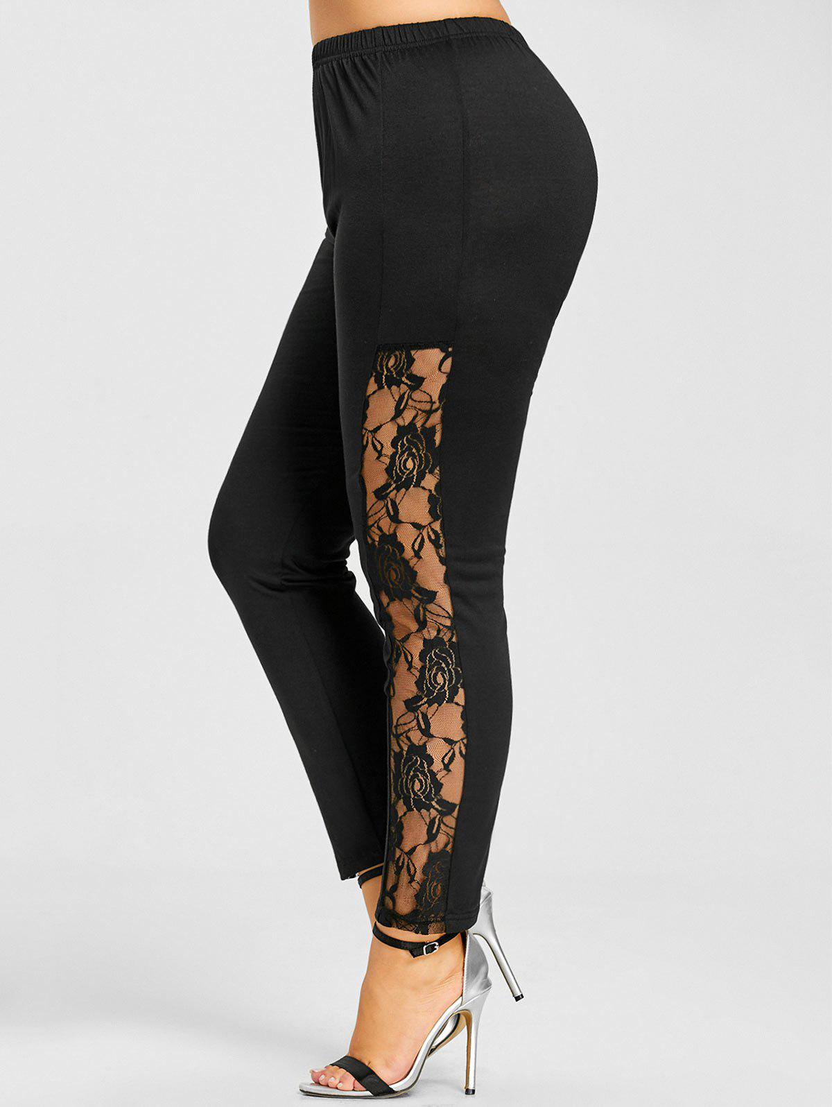 Lace Insert Skinny Plus Size Leggings