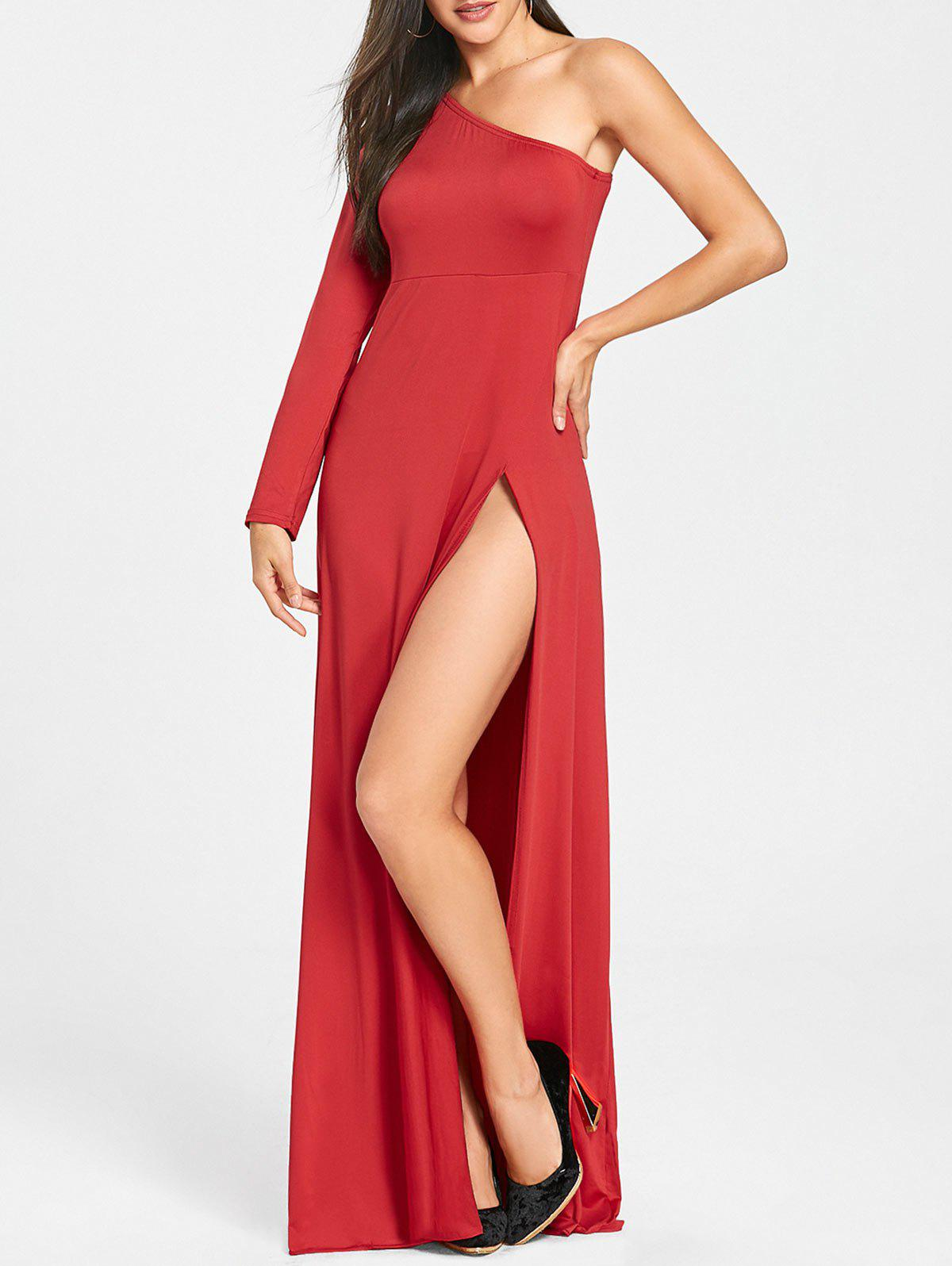 High Slit Empire Waist One Shoulder Dress - RED 2XL