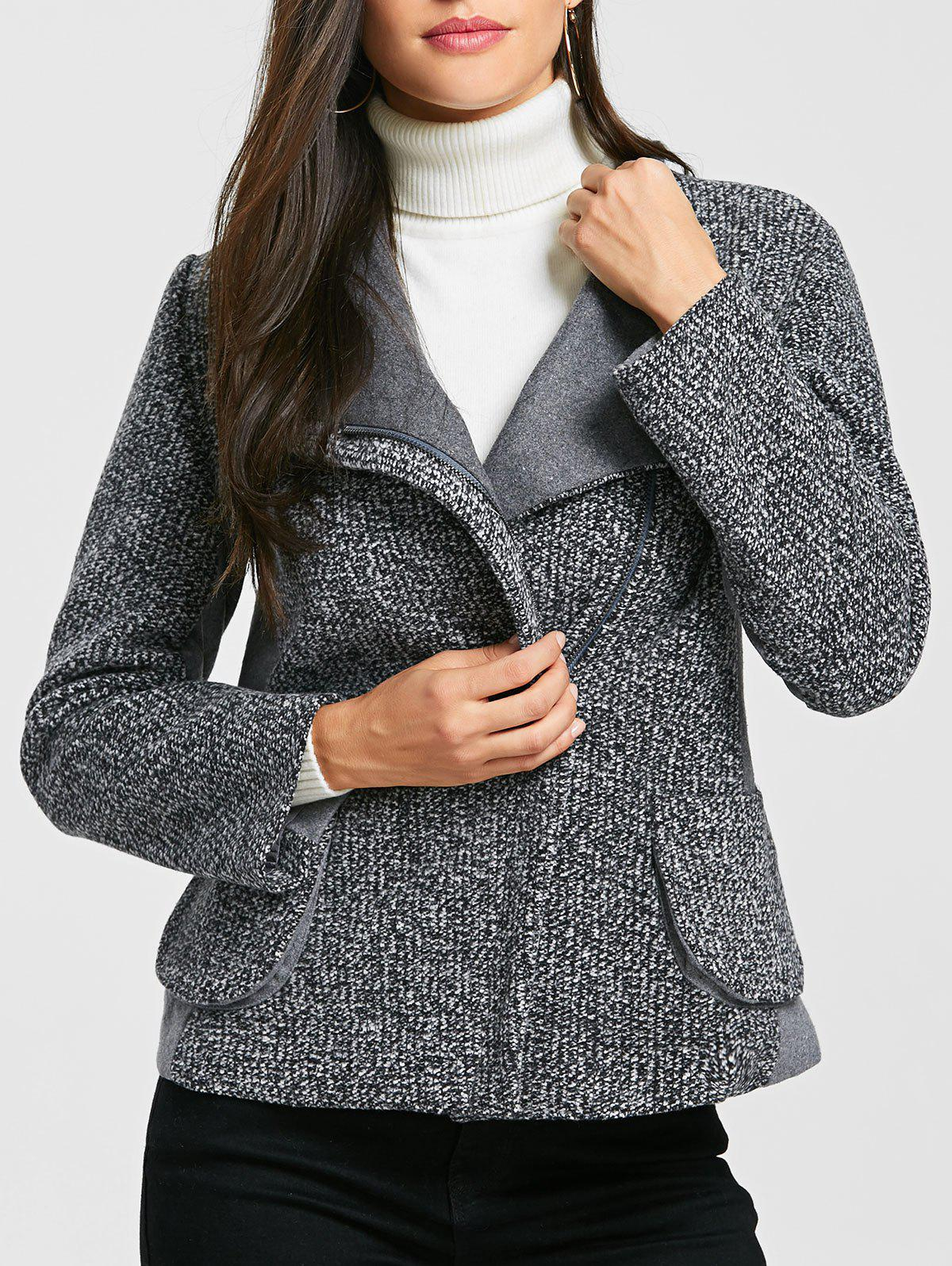 Pockets Oblique Zipper Tweed Wool Jacket - GRAY S