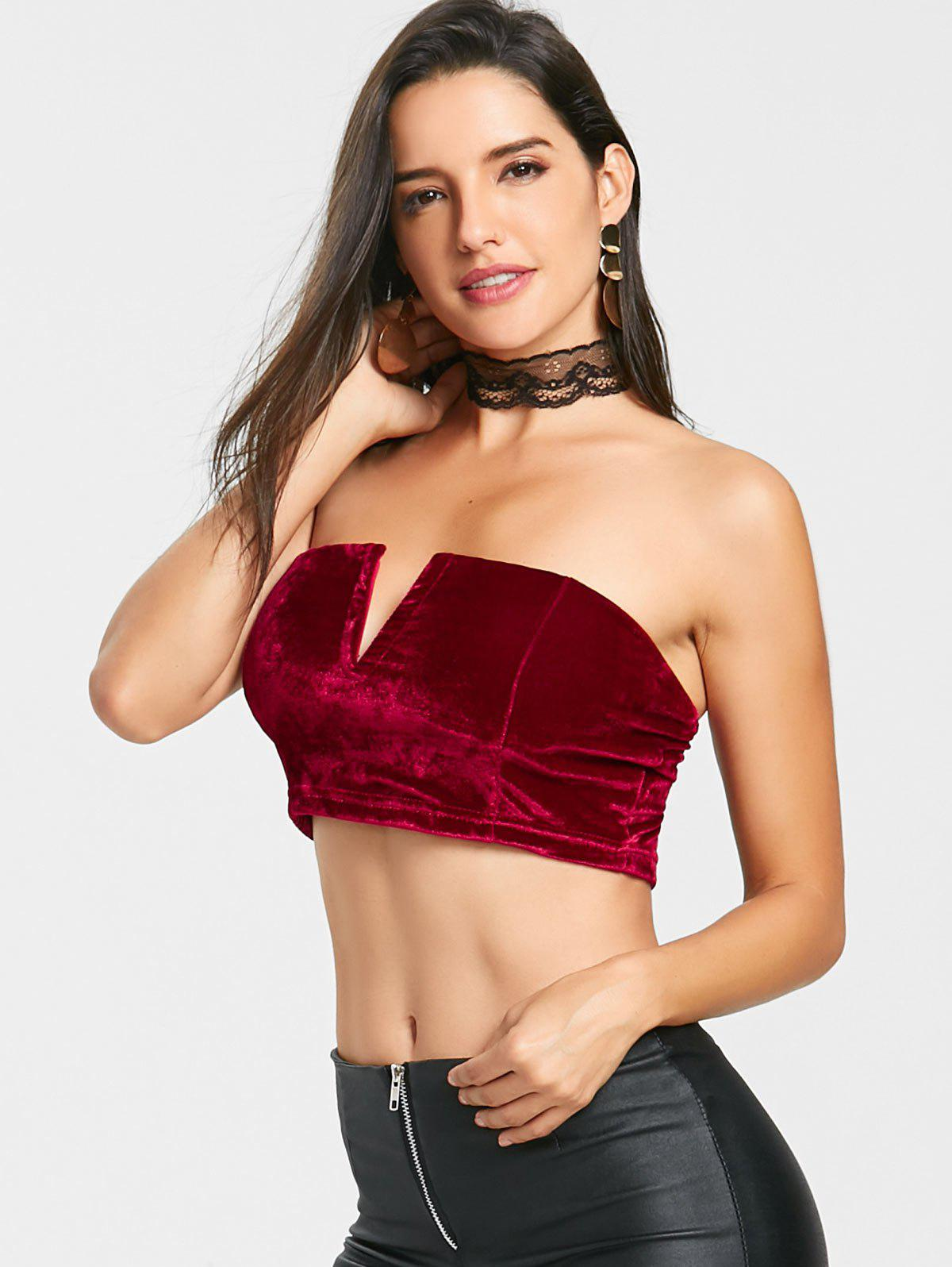 V Cut Velvet Tube Crop Top - RED M