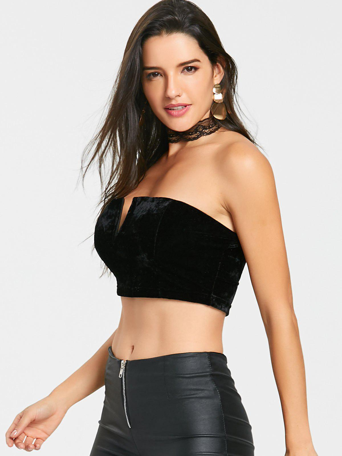 V Cut Velvet Tube Crop Top - BLACK M