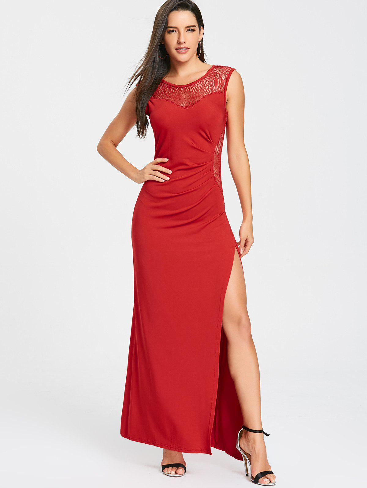 High Slit Draped Maxi Party Dress - RED XL