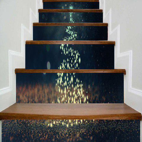 Sparkling Christmas Tree Print Decorative Stair Stickers - COLORMIX 100*18CM*6PCS