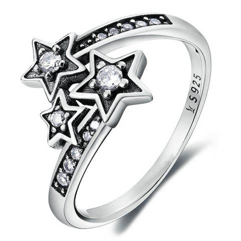 Rhinestone Star Sterling Silver Ring - SILVER 7