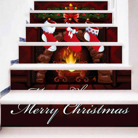 Stickers d'escalier décoratifs de Noël Stocking Fireplace Pattern - multicolore 100*18CM*6PCS