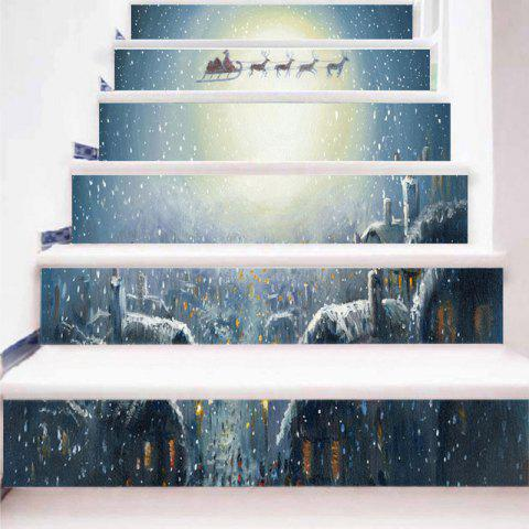 Christmas Sled Moon Printed Stair Stickers - COLORMIX 100*18CM*6PCS