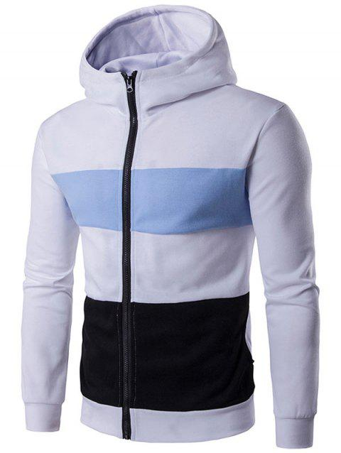 Zip Up Color Block Stripe Hoodie - WHITE XL