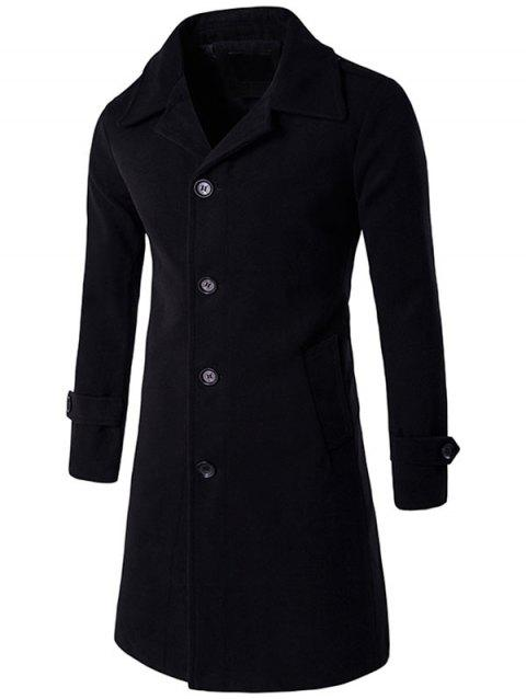 Epaulet Single Breasted Wool Blend Long Coat - BLACK M