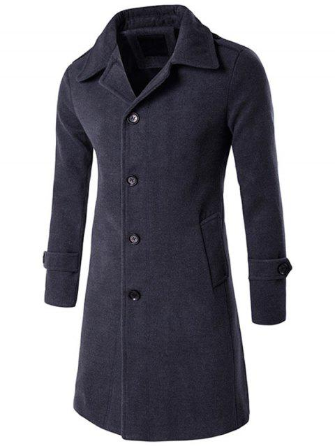 Epaulet Single Breasted Wool Blend Long Coat - DEEP GRAY M