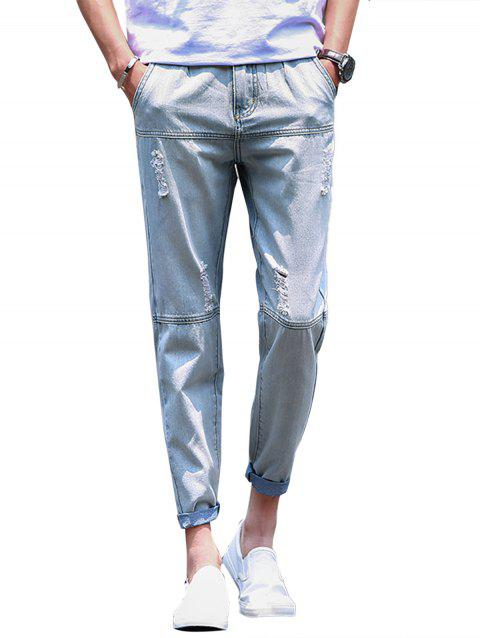 Panel Straight Leg Bleached Ripped Jeans - LIGHT BLUE 38
