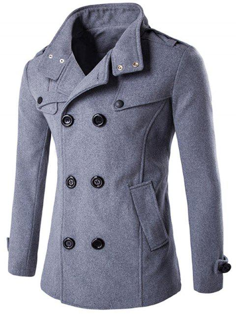 Funnel Collar Double Breasted Epaulet Pea Coat - GRAY M