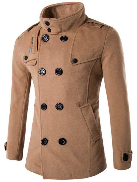 Funnel Collar Double Breasted Epaulet Pea Coat - KHAKI XL