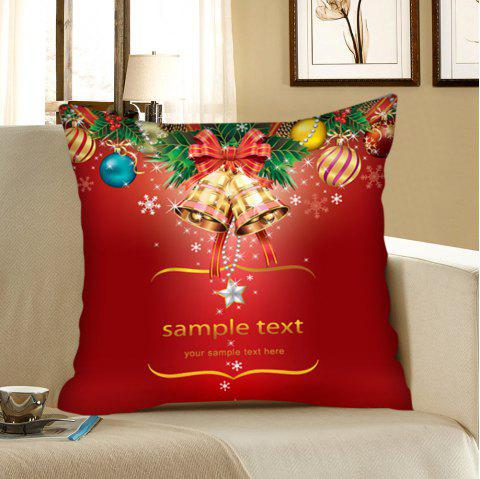 Christmas Bell and Baubles Pattern Linen Pillow Case - RED W12 INCH * L20 INCH