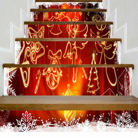 Christmas Ornaments Angel Pattern Stair Stickers - RED 100*18CM*6PCS