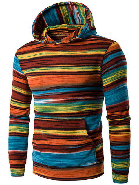 Irregular Stripe Kangaroo Pocket Hoodie - JACINTH L