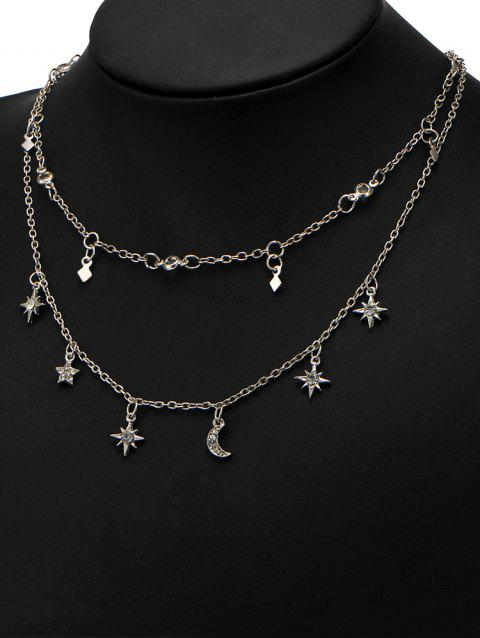 Moon Star Charm Chain Necklace Set - SILVER