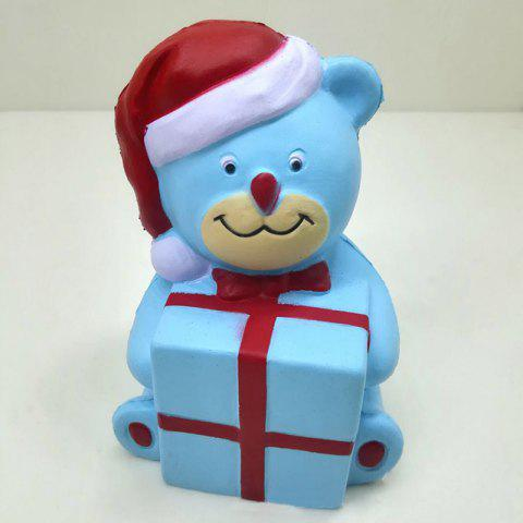 Stress Relief Slow Rising Squishy Toy PU Simulation Christmas Bear - BLUE