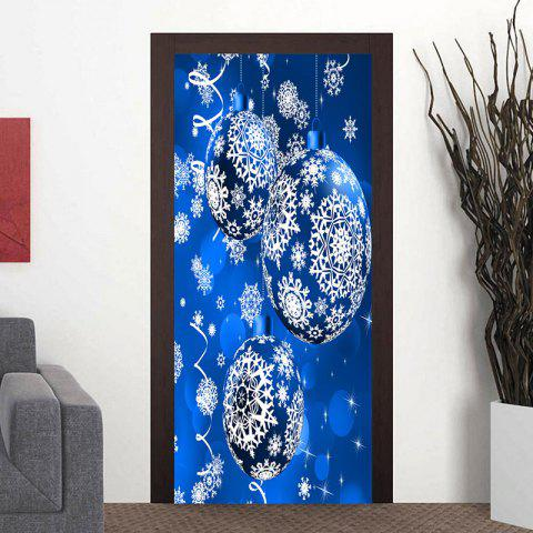 Christmas Ornament Ball Snowflake Printed Pattern Door Cover Stickers - BLUE 38.5*200CM*2PCS
