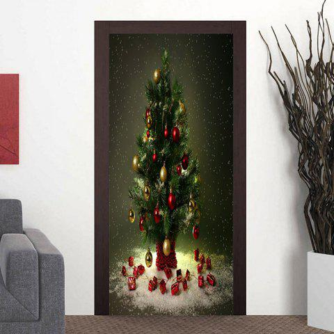 Christmas Tree Pattern Home Decor Door Cover Stickers - DARK GRAY GREEN 38.5*200CM*2PCS