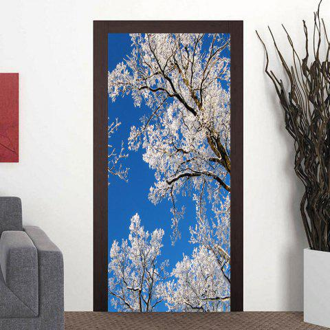 Branch with Snow Pattern Door Cover Stickers - BLUE 38.5*200CM*2PCS