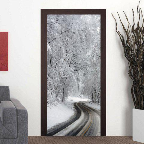 Winter Road Door Art Stickers - WHITE 38.5*200CM*2PCS