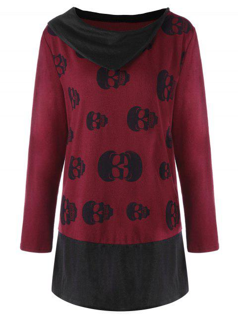 Plus Size Skulls Two Tone Tunic Top - DEEP RED XL