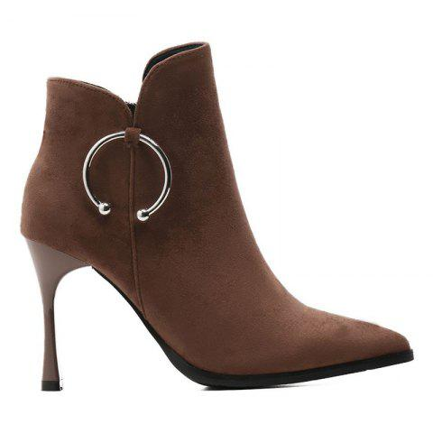 Metal Ring Stiletto Heel Ankle Boots - BROWN 36