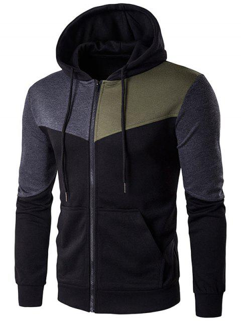 Color Block Zip Up Kangaroo Pocket Hoodie - BLACK M