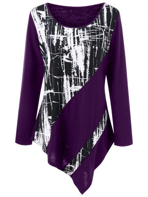 Plus Size Monochrome Asymmetric Tunic Tee - CONCORD 3XL