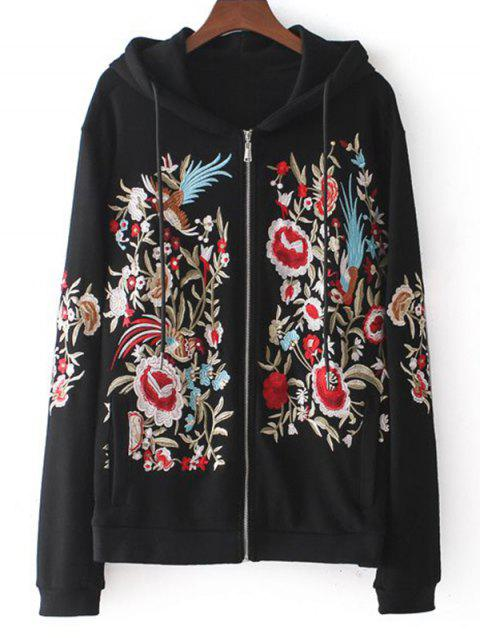 Floral Embroidered Drawstring Zip Up Hoodie - BLACK S