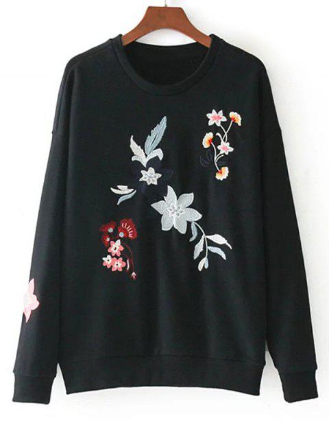 Floral Embroidered Drop Shoulder Loose Sweatshirt - BLACK L