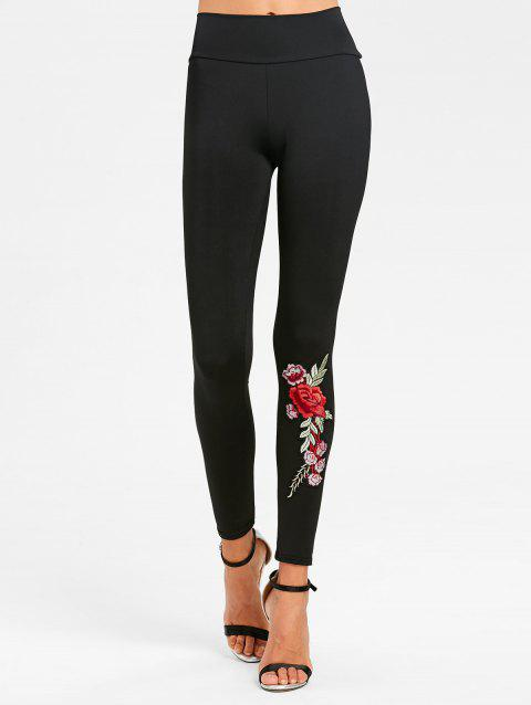 Floral Patched High Waisted Leggings - BLACK M