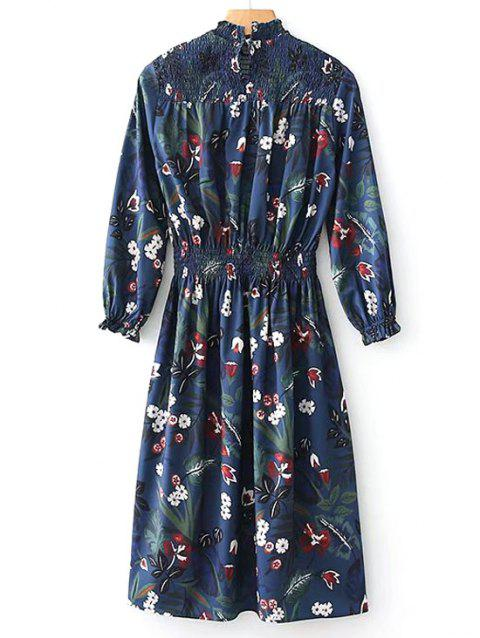 Smocked Panel Floral Long Sleeve Midi Dress - FLORAL M