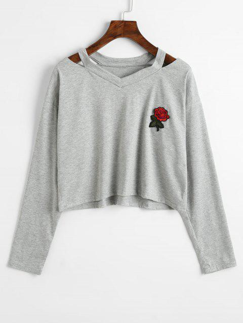 Rose Embroidered Patches Cold Shoulder Sweatshirt - GRAY L