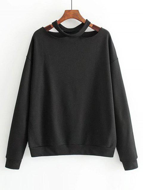Cut Out Loose Cotton Sweatshirt - BLACK M