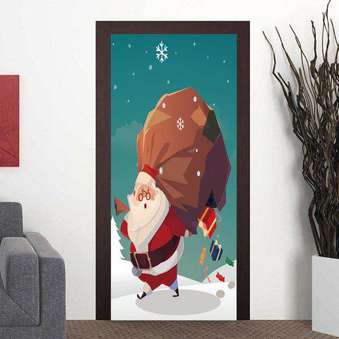 Christmas Santa Claus with Gift Boxes Pattern Decorative Door Stickers - GREEN 38.5*200CM*2PCS