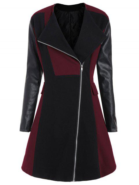 Plus Size Color Block Faux Leather Sleeve Coat - WINE RED 3XL