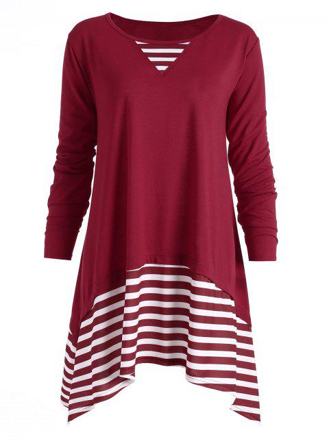 Stripe Panel Plus Size Tunic Asymmetrical T-shirt - WINE RED 5XL