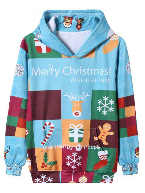 989e15584d924 17% OFF] 2019 Color Block Cartoon Christmas Print Pullover Hoodie In ...