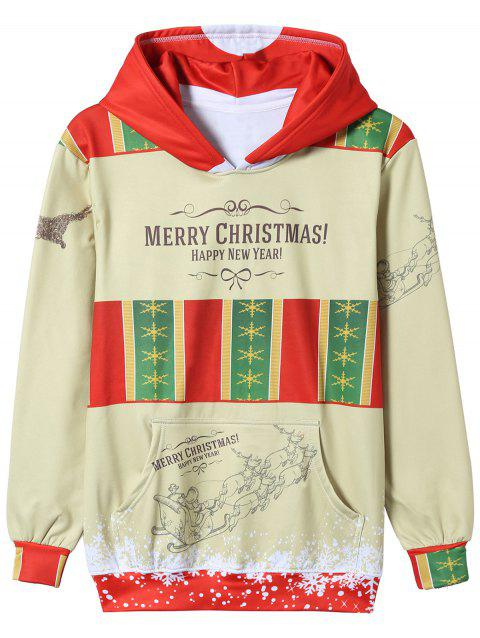Graphic Paint Christmas Print Pullover Hoodie - COLORMIX 2XL