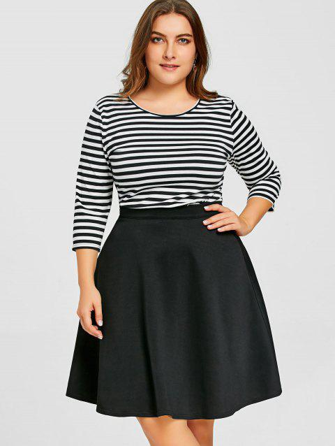 Striped Top with Plus Size Skirt - BLACK 3XL