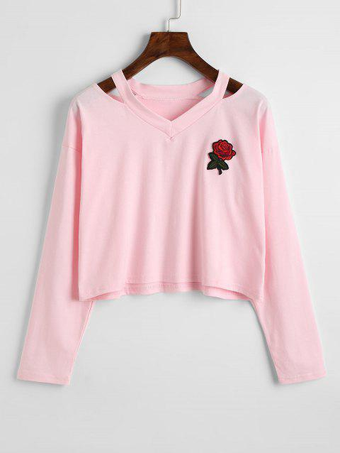 Rose Embroidered Patches Cold Shoulder Sweatshirt - PINK M