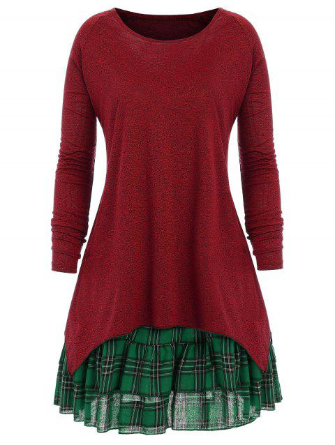 Plus Size Check Two Piece Dress - WINE RED 4XL